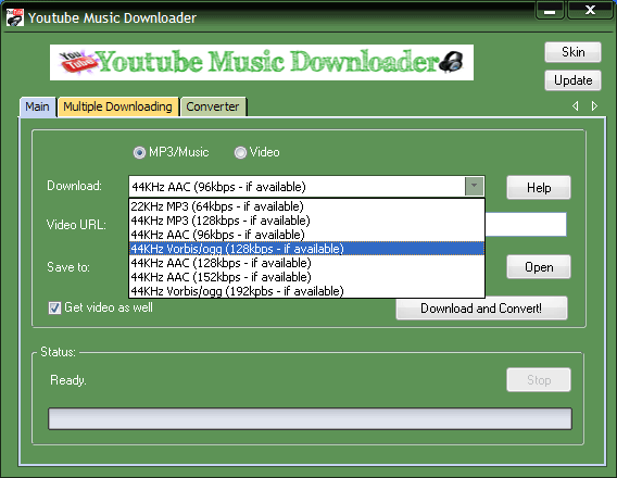 audio formats our Youtube Music Downloader supported