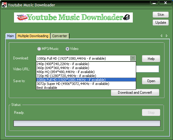 video formats our youtube music downloader supported