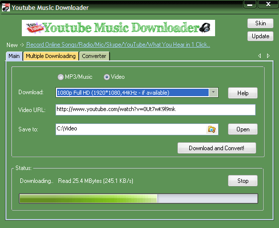 youtube music downloader main ui
